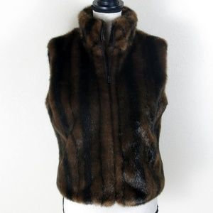 Cejon Brown Faux Fur Vest Size M NWT